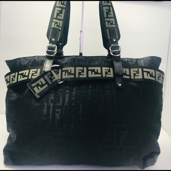 95079451 Fendi Bags | Authentic Black Nylon Ff Monogram Tote Bag | Poshmark